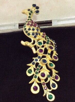 Vintage jewellery Gorgeous Sparkling Large crystal Peacock Bird brooch