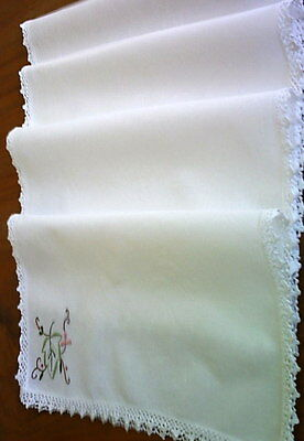 4 Large Table Napkins White Vintage Dainty Embroidery + Crochet Lace Edge Unused