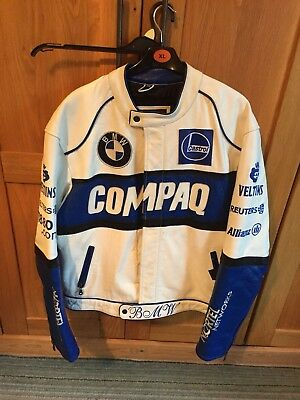 Genuine BMW White Leather Motorcycle Racing Biker Compaq Jacket XL