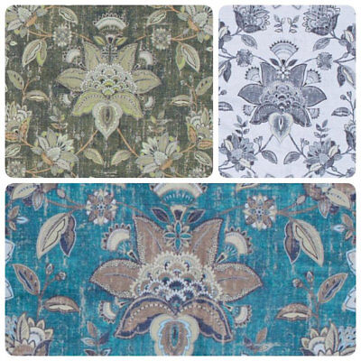 Antiqued Botanical Jacobean Drapery Fabric Floral Turquoise Blue Green Gray