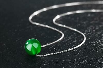 Fashion 925 Sterling Silver Green Jade Ball Round Bead Jaspers Pendant Necklace
