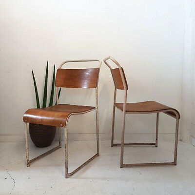 1 x Vintage Mid Century Ply & Metal Industrial Stacking School Chair QTY Avlble