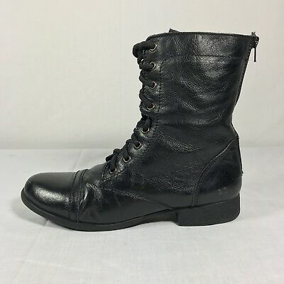 9249f8c5632 Steve madden 9 troopa black leather combat ankle boots women lace-up  military