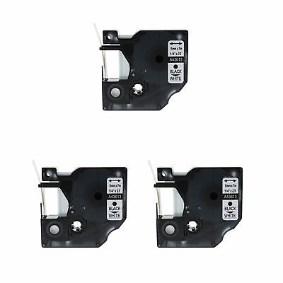 "3PK 43613 Black on White Label Tape For Dymo D1 Labelmanager 150 1/4"" 6mm"