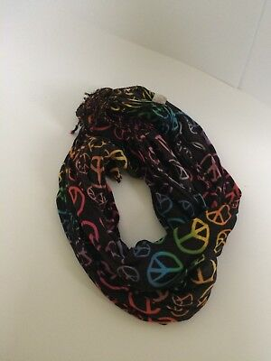 Justice Girls Multi Color Rainbow Peace Sign Fringe Scarf NWOT
