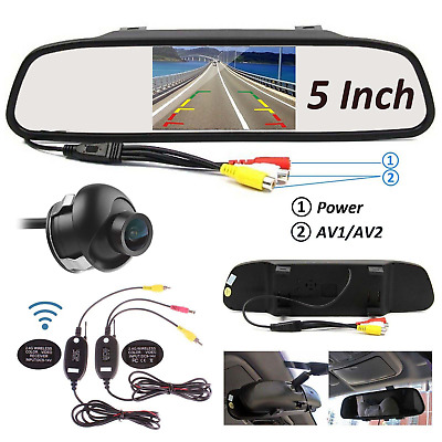 """5"""" TFT LCD Car Auto Reverse Parking Rearview Mirror Wireless Monitor Rear View"""
