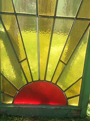 Architectural Salvage Art Deco Sunray Rising Sun Stained Glass Window Bundle Set