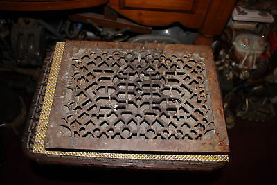 Antique Victorian Register Grate Heat Vent-Cast Iron-3 Louvers-Architectural