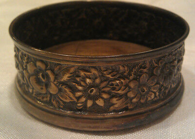 Sterling Silver GALT BRO & CO Floral REPOUSSE Halloware Nut Dish Coaster