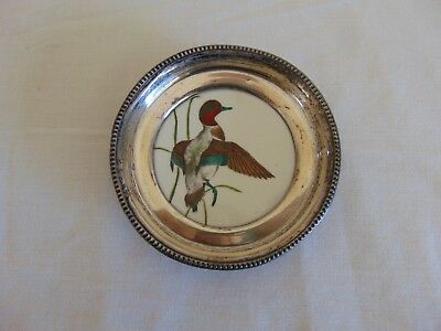 Vintage Sterling Silver Frank M Whiting Green Wing Teal Duck Coaster Free Ship