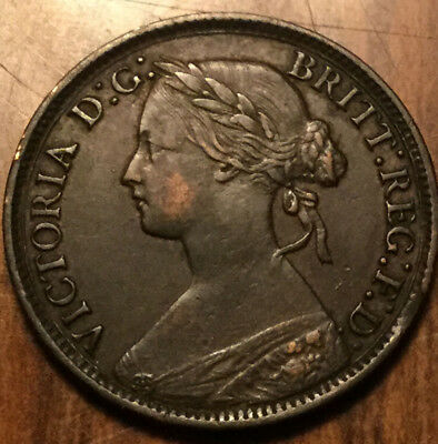 1861 GREAT BRITAIN VICTORIA FARTHING - Great example !