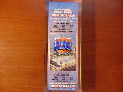 1998 NCAA Mens Final Four Replica Ticket Protected By Thick Plastic Cover
