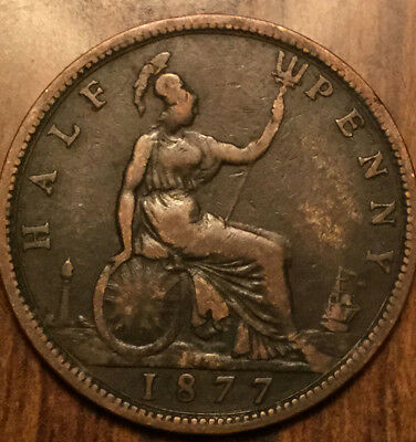 1877 Uk Gb Great Britain Victoria Halfpenny