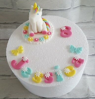 Unicorn Birthday Cake Topper Name Age Handmade Edible Icing Fondant