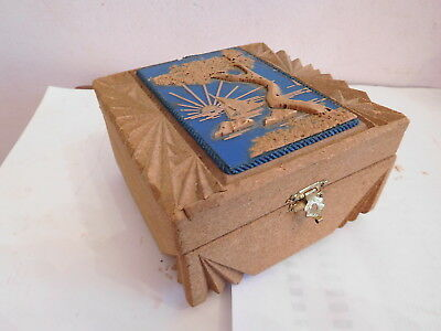 Found* Rare Vintage Chinese Cork Jewellery Box With Oriental Cork Display
