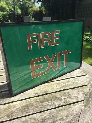 "Vintage Green Fire Exit Sign taken from Factory 14""x9"" C1960's FREE UK SHIPPING"
