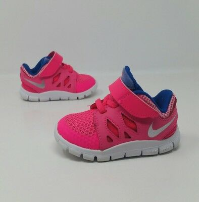 3aa1b9de9e3a NIKE FREE 5 Toddler Girl s Athletic Running Sneaker Shoes Pink Blue Size 4C