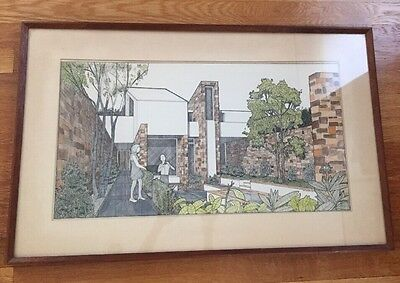 Mid-Century MODERNIST WATERCOLOR DRAWING/ENGRAVING ARCHITECTURAL HOUSE Signed