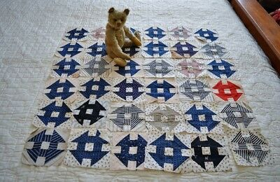 """Antique Collection 36 Hand Pieced Calico Hole in the Barn Door 5"""" Quilt Blocks"""