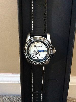 French Michelin Tire Mr.bib Collector Quartz Watch Genuine Black Leather Band