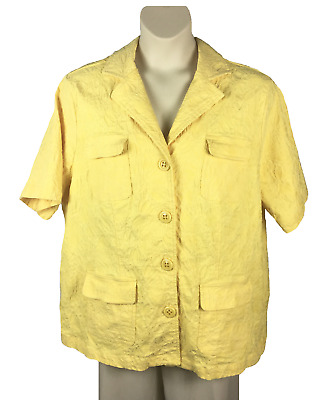 Womens Maggie Barnes Yellow Textured Jacket Blazer Plus Size 2X Machine Wash S/S