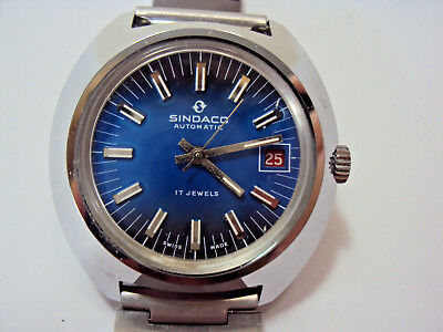 SINDACO automatic Herren Armbanduhr 17 Jewels Swiss Made 9313 Datumsanzeige