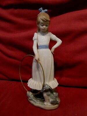 Beautiful Retired Lladro Nao Figurine Young Girl With Hoop And Puppy Dog