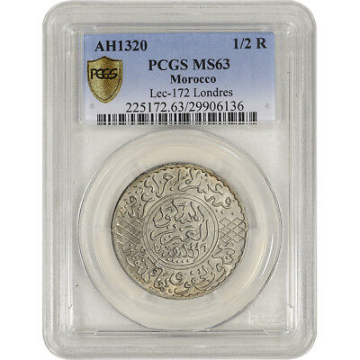 AH1320 Morocco Silver 1/2 Rial - PCGS MS63 - Lec-172 Londres