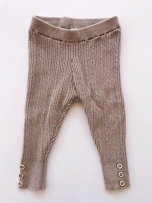 Zara Baby Girl Tan Knit Leggings 6-9 Months