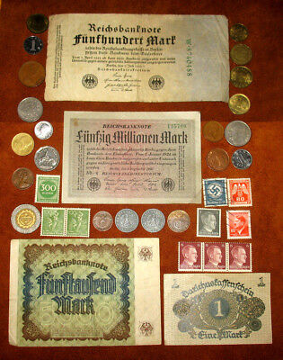 GERMAN REICH COINS WITH SWASTIKAS! GERMANY STAMPS AND BANKNOTES! WORLD COINS! w4