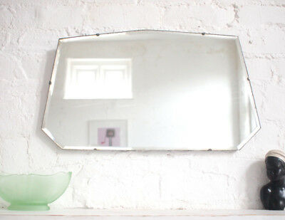 Frameless Antique Art Deco Wall Mirror 1920s Large Vintage Bevelled Edge Chain