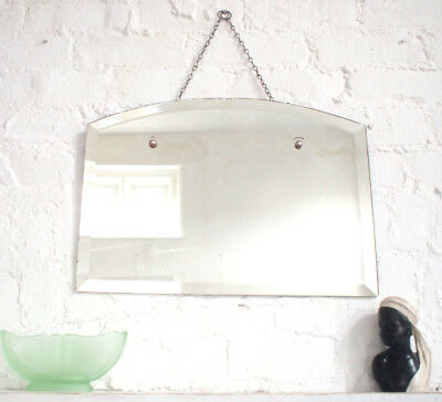 Frameless Antique Art Deco Wall Mirror 1920s Vintage Large Bevelled Edge Chain