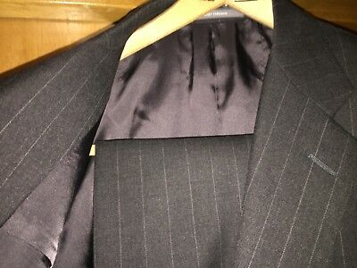 $1695 42R Hickey Freeman Charcoal Gray Pinstripe Suit Super 130s Loro Piana Wool