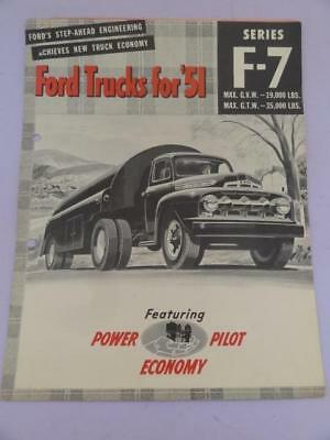 Usa Ford Trucks Power Pilot Series F7 Sales Advertising Brochure 1951