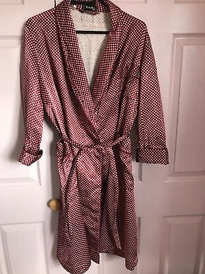 Gentlemans Vintage French Silky Smoking Jacket Robe Housecoat Paisley Small