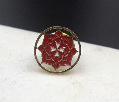 Rose Croix Round Sterling Silver Gold Plated Lapel Pin Masonic Rose 18th Degree