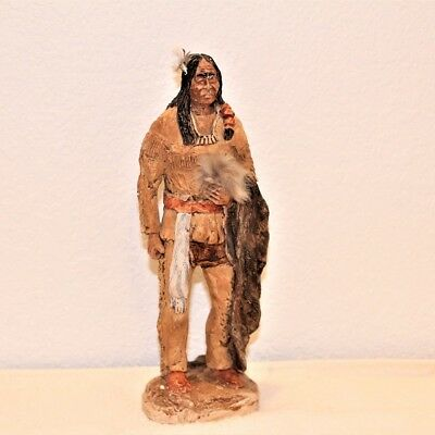 "Vtg Native American Indian Hand Painted Ceramic 10"" Warrior Unique Beautiful"