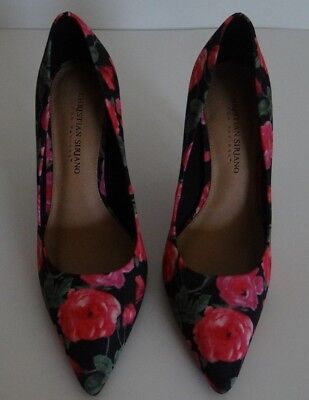 d41f9421816 Christian Siriano Women s Floral Print Pointy Toe Slip on Heels Shoes Size  7.5