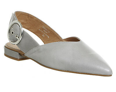 Womens Office Grey Leather Buckle Flats UK Size 5 *Ex Display