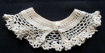 Vintage Hand-Crocheted Baby Collar w/MOP Buttons
