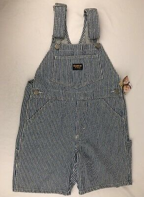 OSHKOSH B'GOSH DENIM OVERALLS RAILROAD STRIPED Size 6 yrs ENGINEER BOYS GIRL