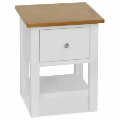 vidaXL Solid Oak Nightstand 36x30x47cm with Drawer and Shelf Bedside Table