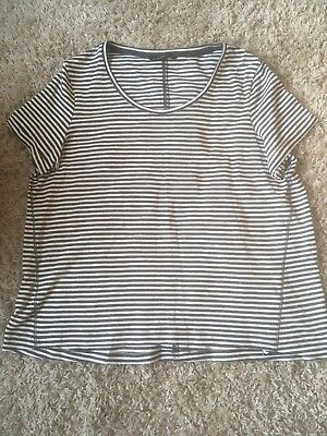 Dunnes ladies navy and white striped tee size 20 BNWT