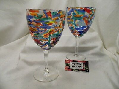 Pier One / Pier 1 Art Glass CONFETTI Water Goblet set of Two
