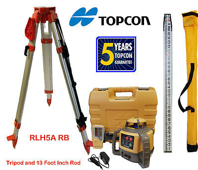 Topcon RL-H5A RB Rotary Laser Level PLUS 13 Foot Aluminum Inch Rod & Tripod