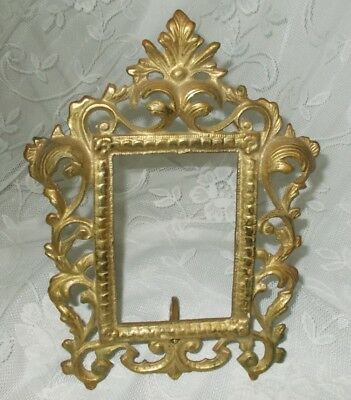 Vintage Cast Brass Victorian Scroll Style Easel Back Picture Frame