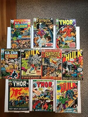 LOT OF 10 EARLY BRONZE AGE MARVEL COMICS (1970-74) Hulk Thor Fantastic 4! FN/VF!
