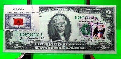 Money Us $2 Dollars 1976  Federal Reserve Note New York Flag Albania War Ii