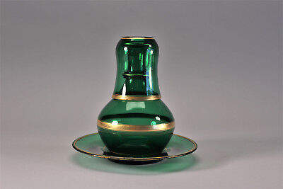 Emerald Green Crystal Carafe Tumble Up Plate French Antique 19th C Bonne Nuit