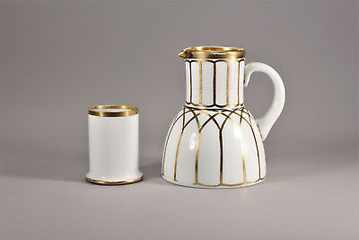 Antique White Milk Glass Water Carafe and Tumble Up Art Deco Gold Gothic Czech